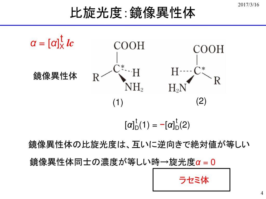 比旋光度:鏡像異性体 t α = [α]X lc 鏡像異性体 (2) (1) [α]D(1) = −[α]D(2)